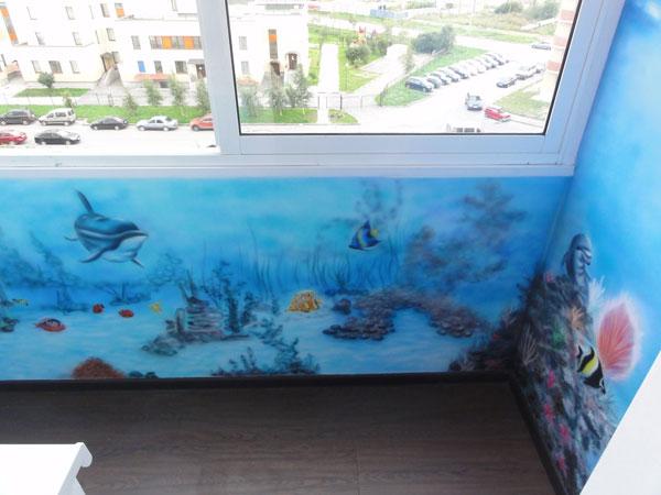 Роспись стен своими руками на балконе